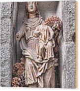 Antique Blessed Virgin Statue Wood Print