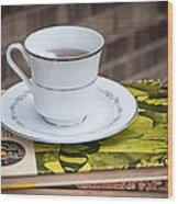 Antique Books And Tea Wood Print