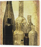 Antique Bottles From The Past Wood Print