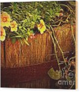 Antique Bucket With Yellow Flowers Wood Print