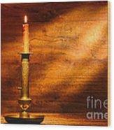 Antique Candlestick Wood Print