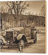 Antique Car At Service Station In Sepia Wood Print
