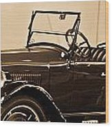 Antique Car In Sepia 1 Wood Print