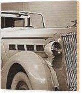 Antique Car In Sepia 2 Wood Print