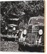 Antique Cars Black And White Wood Print