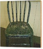 Antique Child's Chair With Quilt Wood Print