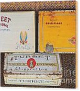 Antique Cigarette Boxes Wood Print