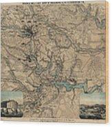 Antique Civil War Map Of Richmond And Petersburg Virginia By William C. Hughes - Circa 1864 Wood Print