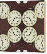 Antique Clock Abstract . Horizontal Wood Print by Renee Trenholm