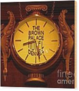 Antique Clock At The Bown Palace Hotel Wood Print