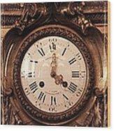 Antique Clock In Sepia Wood Print
