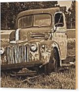 Antique Cut Bed Truck In Sepia Wood Print