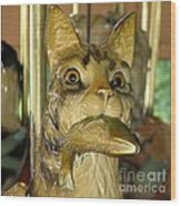 Antique Dentzel Menagerie Carousel Cat With Fish In Rochester New York Wood Print