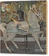 Antique Dentzel Menagerie Carousel Horse Colored Pencil Effect Wood Print by Rose Santuci-Sofranko
