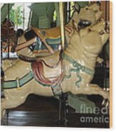 Antique Dentzel Menagerie Carousel Pigs Wood Print by Rose Santuci-Sofranko