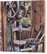 Antique Drill Press Wood Print