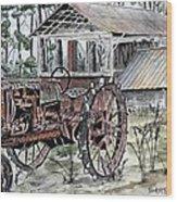 Antique Farm Tractor   Wood Print