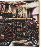 Antique Fire Engine Wood Print