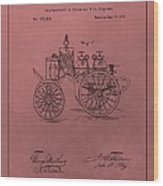 Antique Fire Engine Patent On Red Wood Print