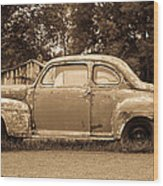 Antique Ford Car Sepia 1 Wood Print