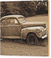 Antique Ford Car Sepia 4 Wood Print
