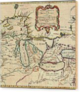 Antique French Map Of The Great Lakes 1755 Wood Print