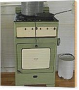 Antique Green Stove And Pressure Cooker Wood Print