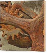 Antique Hand Mixer Gears Wood Print