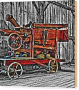Antique Hay Baler Selective Color Wood Print