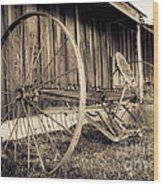 Antique Hay Rake Wood Print