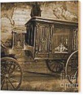 Antique Hearse As Tintype Wood Print
