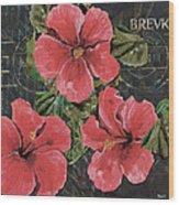 Antique Hibiscus Black 3 Wood Print
