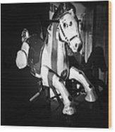 Antique Horse Bw Wood Print