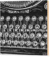 Antique Keyboard - Bw Wood Print