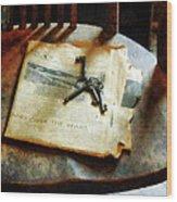 Antique Keys On Newspaper Wood Print
