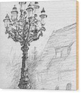 Antique Lampost Wood Print