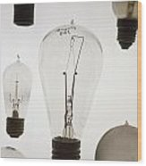 Antique Light Bulbs Wood Print