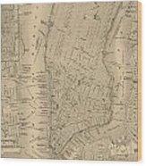Antique Manhattan Map Wood Print