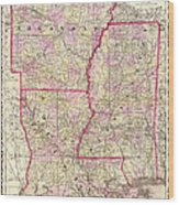 Antique Map Of Arkansas Mississippi And Louisiana Wood Print