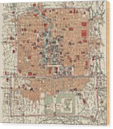 Antique Map Of Beijing China - 1914 Wood Print