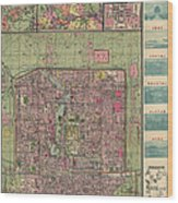 Antique Map Of Beijing China By Jiarong Su - 1921 Wood Print by Blue Monocle