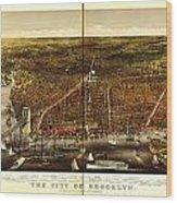 Antique Map Of Brooklyn Wood Print