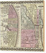 Antique Map Of Chicago And St Louis 1855 Wood Print
