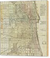 Antique Map Of Chicago Wood Print