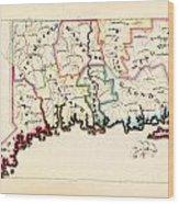 Antique Map Of Connecticut  Wood Print