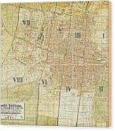 Antique Map Of Del Plano Oficial De La Ciudad De Mexico Wood Print