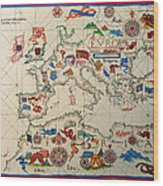 Antique Map Of Europa 1563 Wood Print