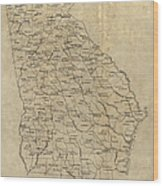 Antique Map Of Georgia - 1893 Wood Print