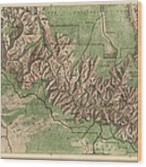 Antique Map Of Grand Canyon National Park By The National Park Service - 1926 Wood Print