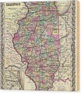 Antique Map Of Illinois 1855 Wood Print